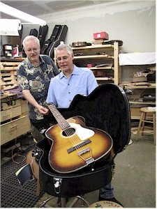 Jeff Glover and me at his shop with the Stella Harmony 12-String.