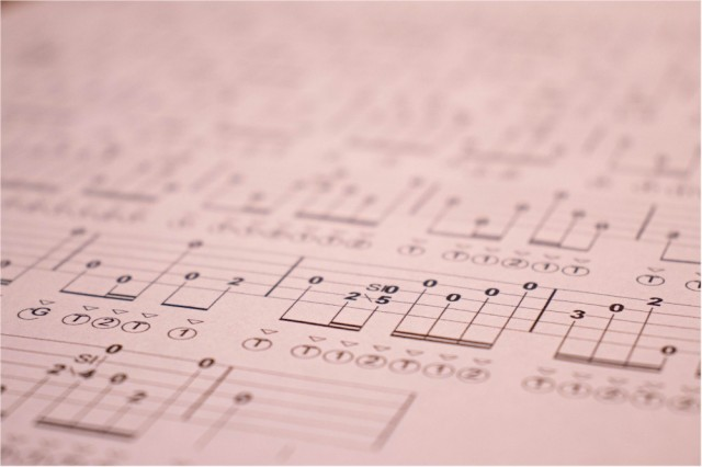 Photo of banjo tablature